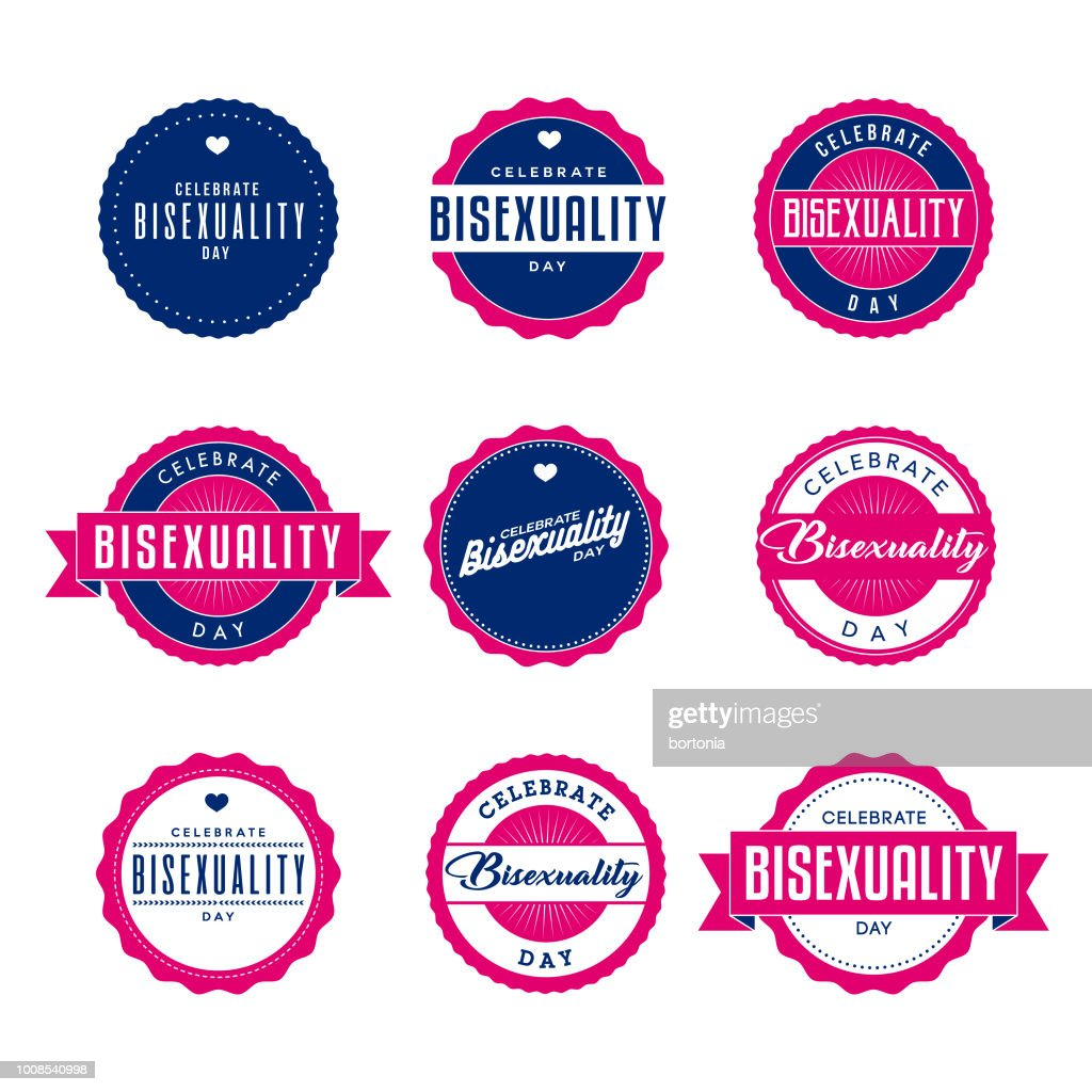 Celebrate Bisexuality Day Labels Icon Set : stock illustration