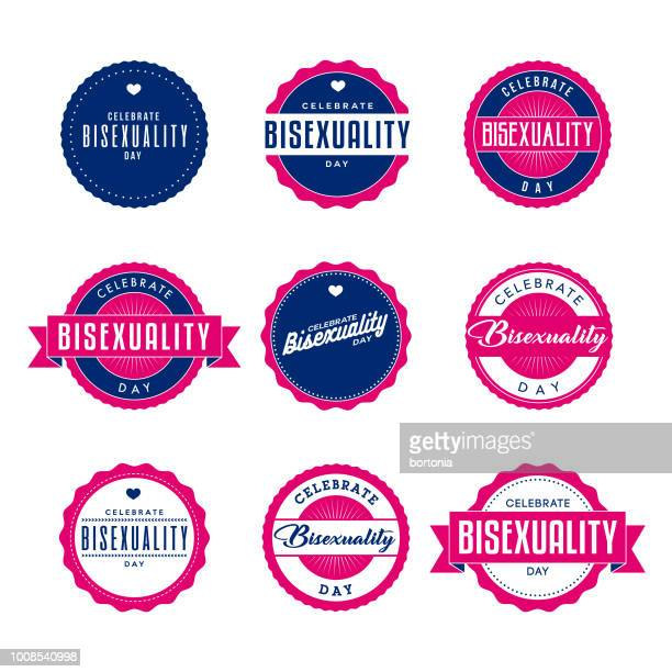 Celebrate Bisexuality Day Labels Icon Set