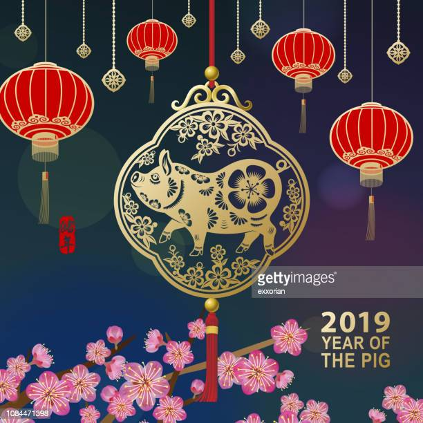 bildbanksillustrationer, clip art samt tecknat material och ikoner med fira kinesiska nyåret med gris - kinesiska lyktfestivalen