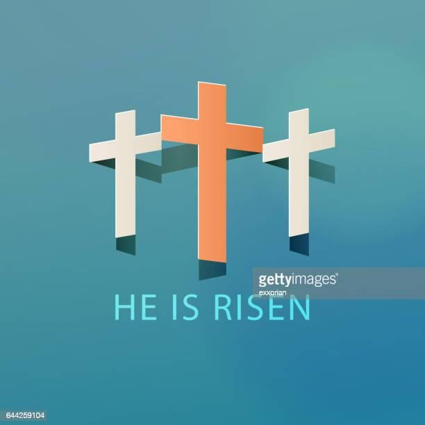illustrazioni stock, clip art, cartoni animati e icone di tendenza di celebrate the resurrection - domenica di pasqua