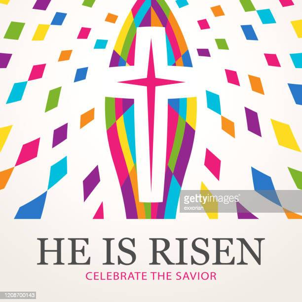 celebrate the risen savior - easter religious stock illustrations