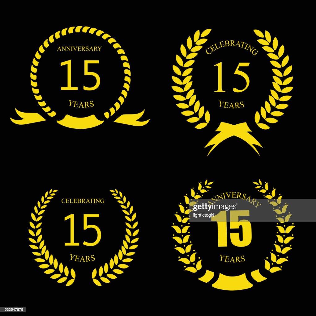 Celebrating 15 Years Anniversary - Golden Laurel Wreath   Vector