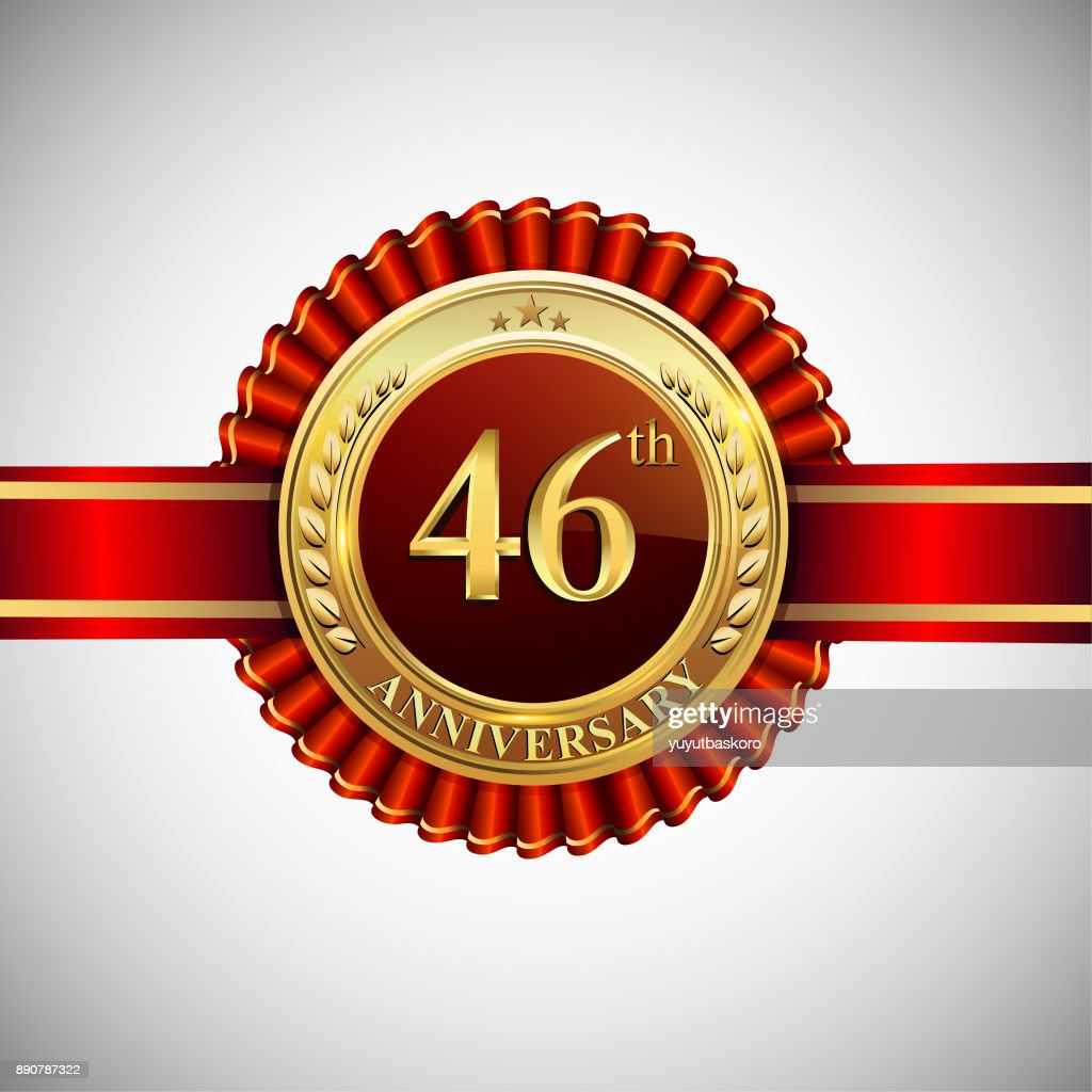 celebrating 46th anniversary symbol with golden badge and red ribbon