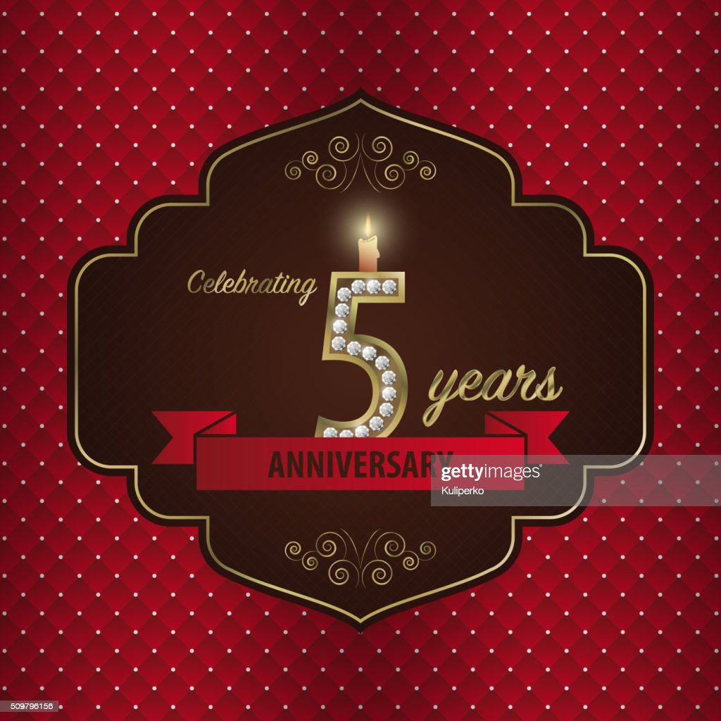 Celebrating 5 Years Anniversary Golden Style Vector Vector Art