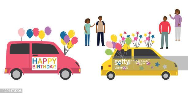 celebrating a birthday with a driving parade - parade stock illustrations