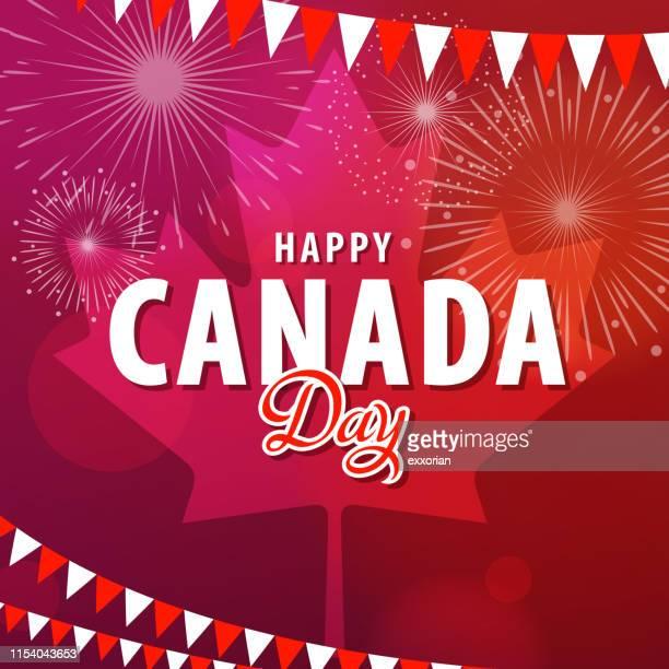 celebrating canada day - canada day stock illustrations