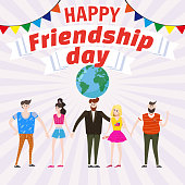Celebrating Group of happy friends enjoying Friendship Day. Modern graphic. Cartoon style illustration for your design. Poster, baner, greeting card
