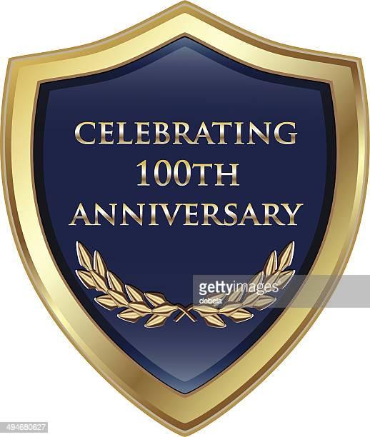 celebrating hundredth anniversary shield - 100th anniversary stock illustrations