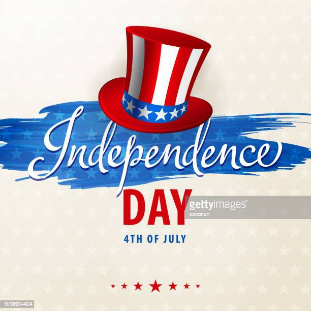 celebrating independence day - hat stock illustrations
