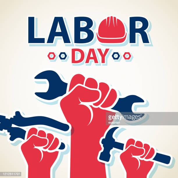 celebrating labor day - labour day stock illustrations