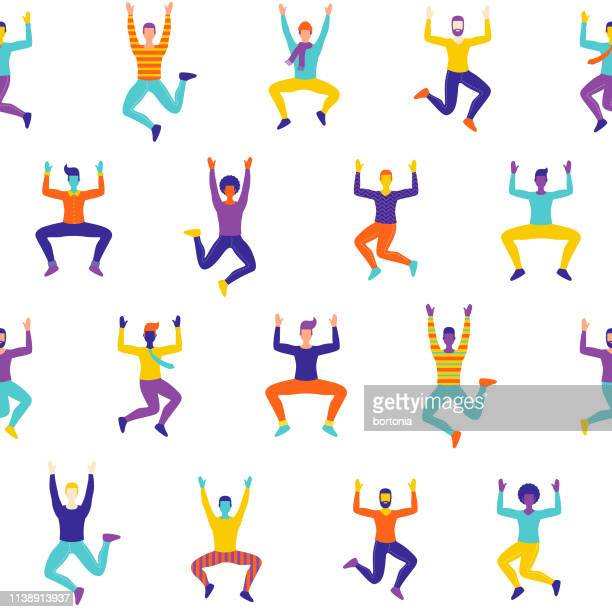 celebrating men seamless pattern - dancing stock illustrations