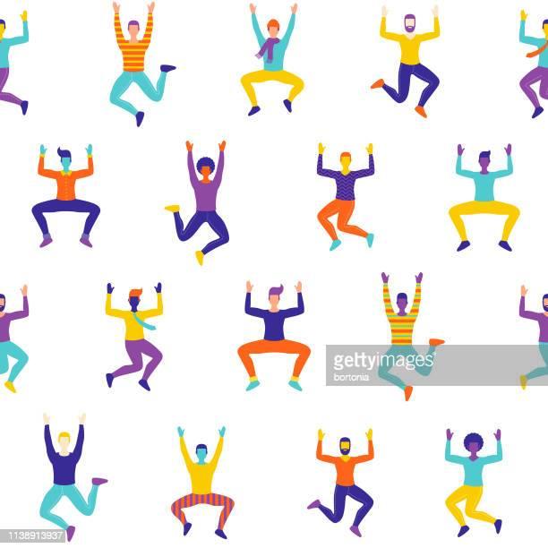 celebrating men seamless pattern - mid air stock illustrations