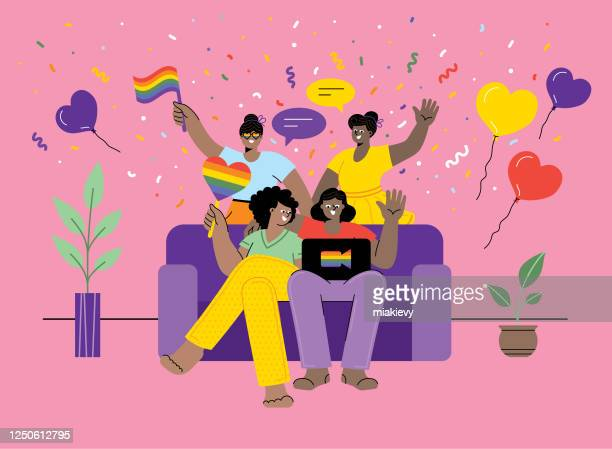 celebrating pride at home - homosexual couple stock illustrations