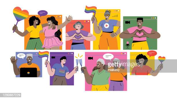 celebrating pride month online - homosexual couple stock illustrations