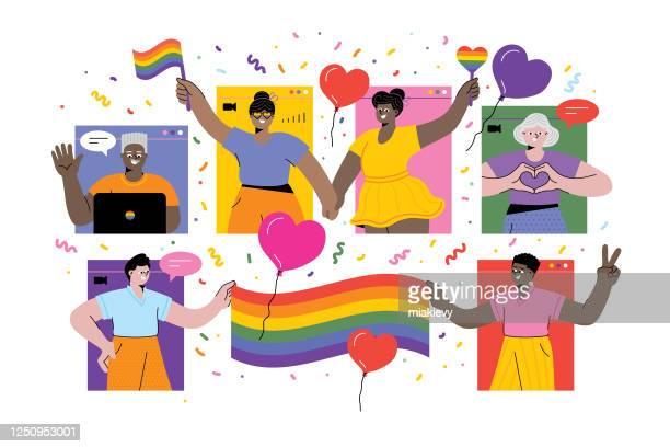オンラインでプライドを祝う - レズビアン点のイラスト素材/クリップアート素材/マンガ素材/アイコン素材