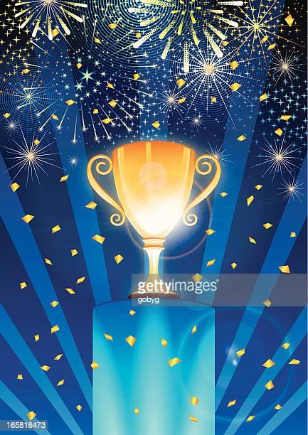 illustrations, cliparts, dessins animés et icônes de célébrant le vainqueur du trophée d'or - winners podium