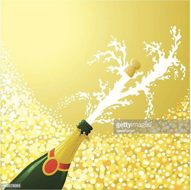 celebrating with champagne - champagne cork stock illustrations, clip art, cartoons, & icons