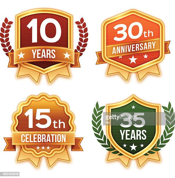 stockillustraties, clipart, cartoons en iconen met celebration and award badges and ribbons - 30 39 jaar