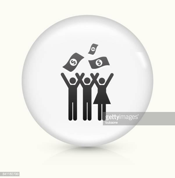 Feier und Geld Symbol auf einem weißen, runden Vektor-button