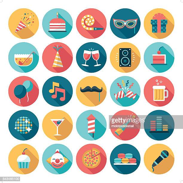 celebration and party icon - multi colored hat stock illustrations
