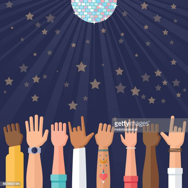 celebration and party illustration with glitter ball and hands waving