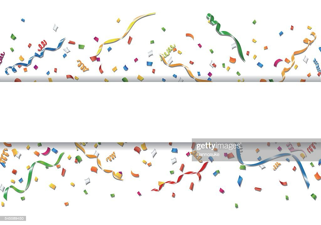 Celebration background with confetti and streamer