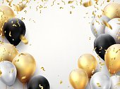 Celebration banner. Happy birthday party background with golden ribbons, confetti and balloons. Realistic anniversary poster
