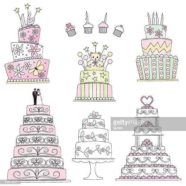 celebration cakes in sketch style. - wedding cake stock illustrations