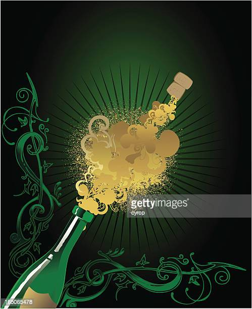 celebration champagne flying cork - champagne cork stock illustrations, clip art, cartoons, & icons