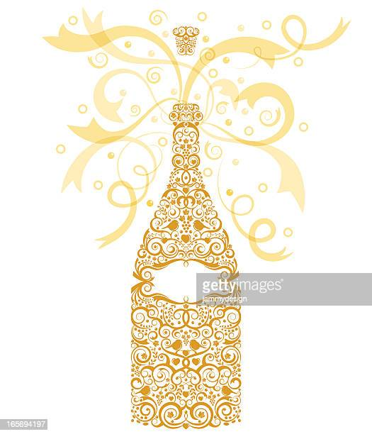 celebration champagne - champagne cork stock illustrations, clip art, cartoons, & icons