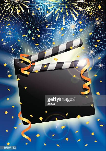 celebration clapboard with streamers, confetti and fireworks - film premiere stock illustrations