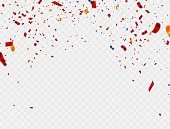 Celebration Colorful background template with confetti and red ribbons. Vector illustration