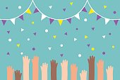 Celebration conceptual illustration. Raised waving hands. Party / Flat editable vector illustration, clip art