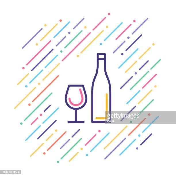 celebration drink line icon - red wine stock illustrations, clip art, cartoons, & icons