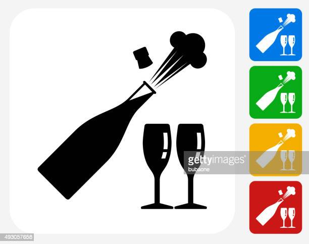 celebration drinks icon flat graphic design - champagne region stock illustrations, clip art, cartoons, & icons