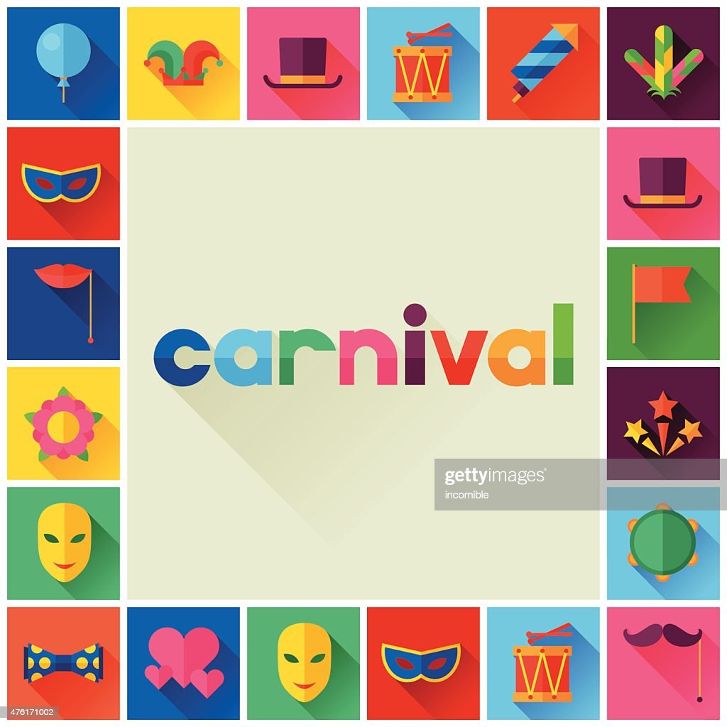 Celebration festive background with carnival flat icons and objects