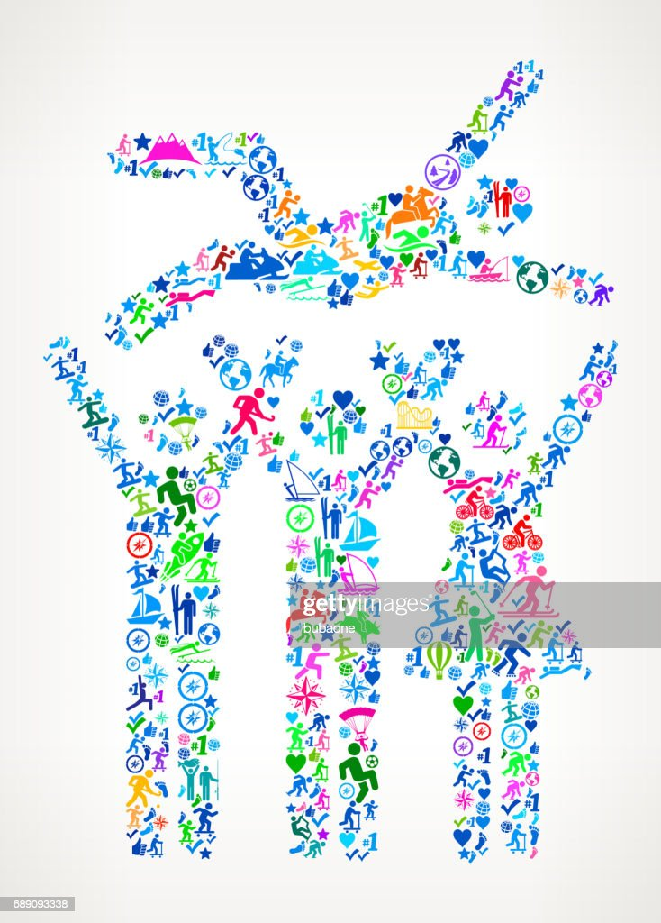 Celebration Group  Active Lifestyle Vector Icon Pattern : Stock Illustration