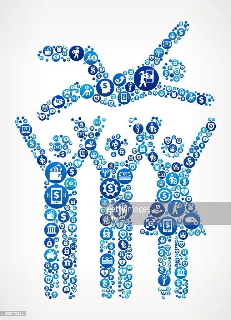 Feier-Gruppe Geld blaues Symbol Muster Hintergrund : Stock-Illustration