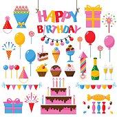Celebration happy birthday party symbols carnival festive vector set