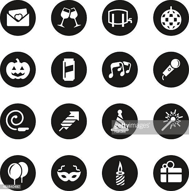 celebration icons - black circle series - arugula stock illustrations, clip art, cartoons, & icons