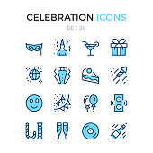 Celebration icons. Holiday concepts. Vector line icons set. Premium quality. Stroke, linear style. Simple thin line design. Modern outline symbols, pictograms