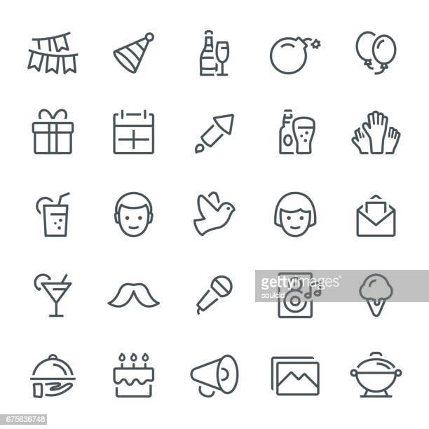 ilustraciones, imágenes clip art, dibujos animados e iconos de stock de celebración de los iconos - fiesta