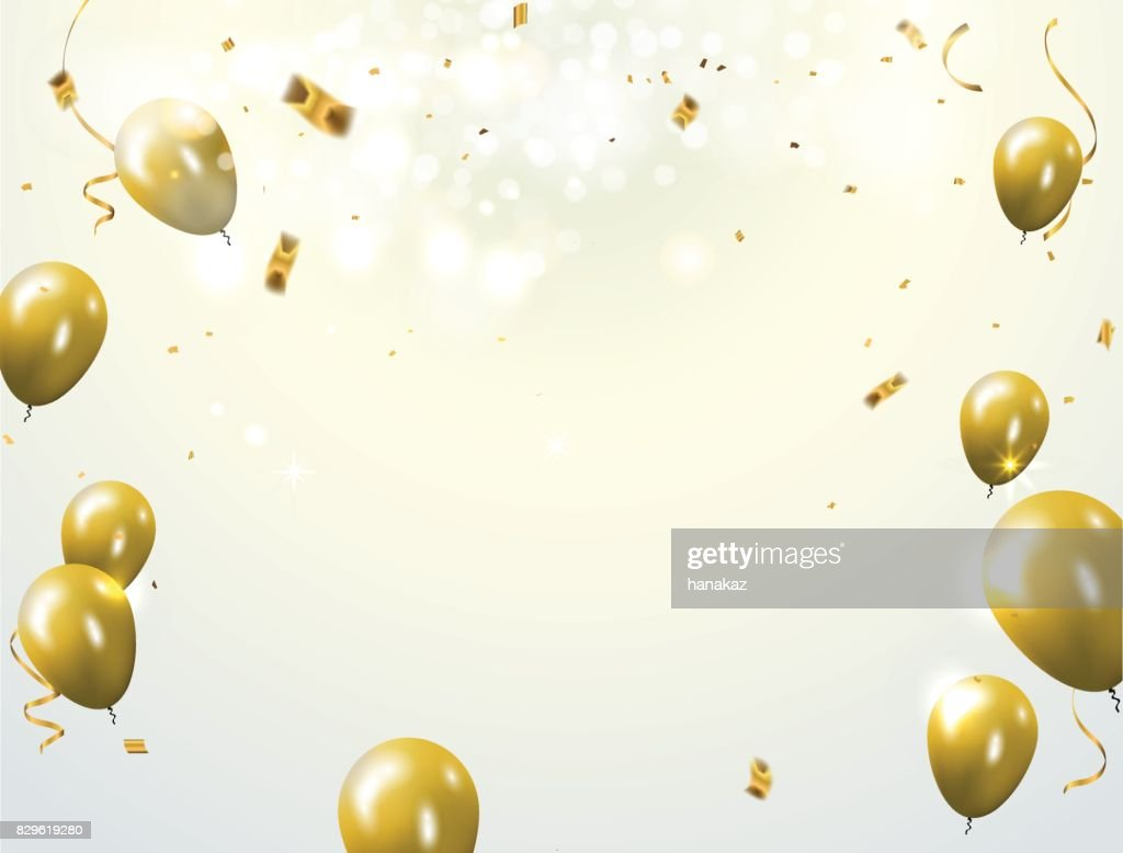 Celebration party banner with golden balloons and serpentine. Greeting, invitation card or flyer.