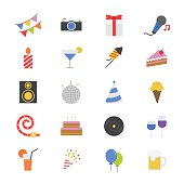 Celebration Party Flat Color Icons