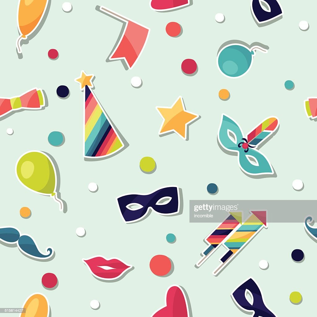 Celebration seamless pattern with carnival stickers and objects.