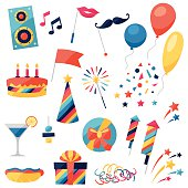 Celebration set of party icons and objects