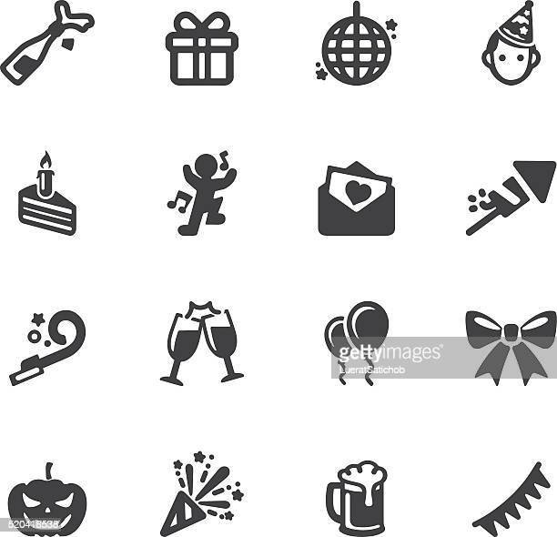 celebration silhouette icons | eps10 - champagne region stock illustrations, clip art, cartoons, & icons