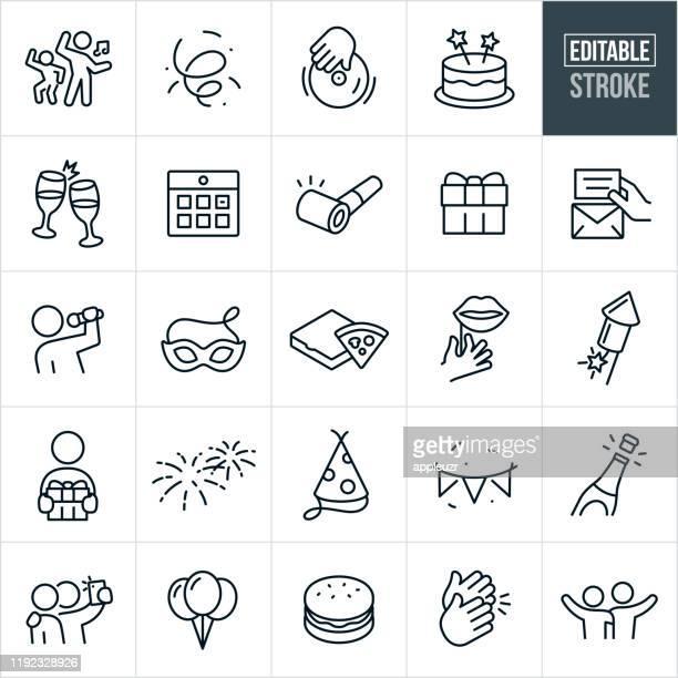 feier dünne linie icons - ediatable schlaganfall - feiern stock-grafiken, -clipart, -cartoons und -symbole
