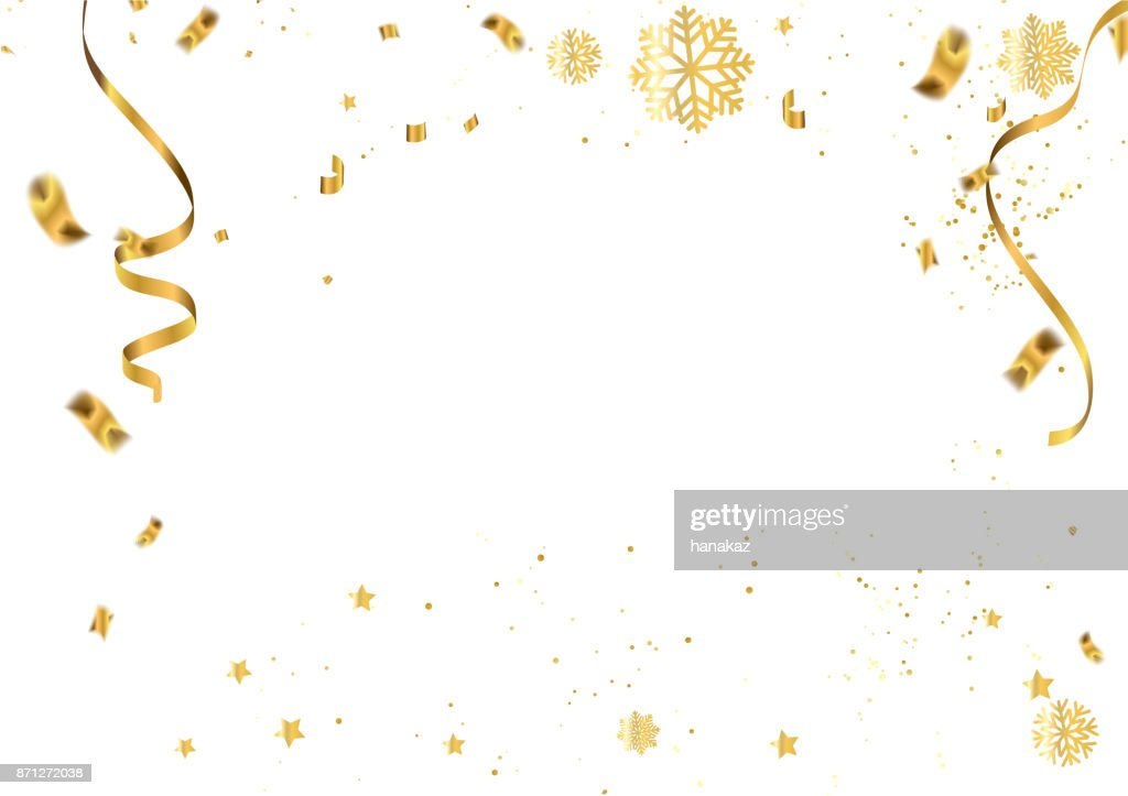 celebration vector illustration of christmas 2018 background with christmas confetti gold and snowflakes