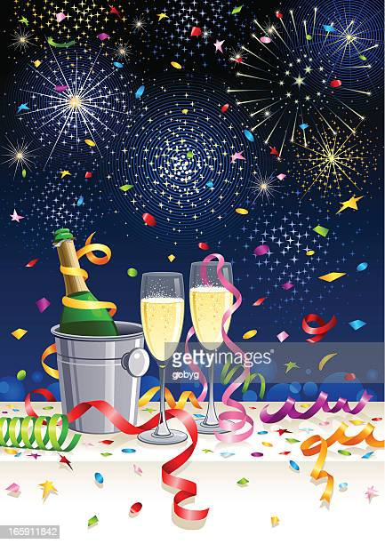 celebration with champagne - ice bucket stock illustrations, clip art, cartoons, & icons